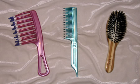 Hairbrushes and combs used for long hair