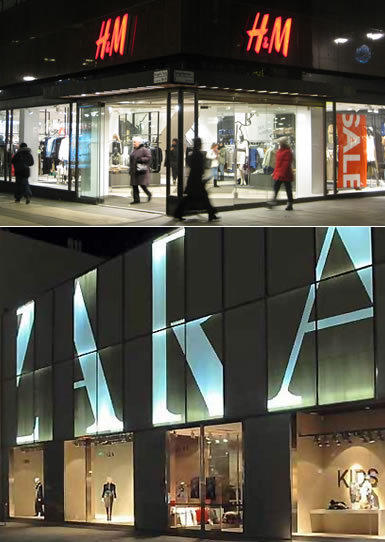 H&M and Zara storefronts