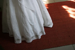 Photo of a long skirt trailing the ground