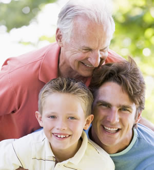 Photo of a boy, a young man and an old man
