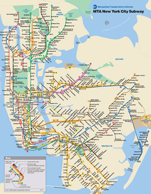Metropolitan Transit Authority New York City Subway Map