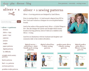 Screenshot of Oliver + S sewing pattern company