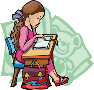Schoolgirl sitting at a desk
