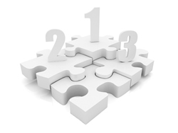 3D image of a puzzle with the numbers 1, 2 and 3