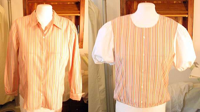 Long-sleeved dress shirt made into a short-sleeved summer shirt