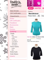 Screenshot of the Double Header online Jewish apparel store