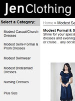 Jen Clothing Store with dresses in regular women's and women's plus sizes with special alternatives for nursing mothers with front wrap and front button designs