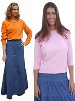 ModestClothing.com long skirts and knit tops with three-quarter sleeves