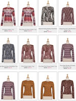 Ricci Fashions high-neck knit tops in printed fabrics