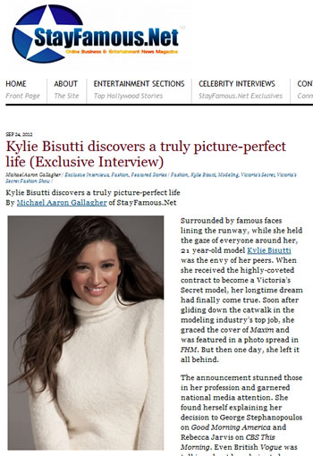 Kylie Bisutti's exclusive interview on the Stay Famous website