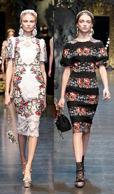 Floral printed dresses from Dolce and Gabbana Winter 2013 fashion show