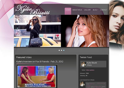 Screenshot of Kylie Bisutti's home website