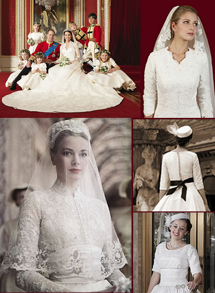 Comparison of modesty of wedding dresses of Kate Middleton, Grace Kelly and modest bridal suppliers